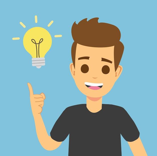 Giovane intelligente che ha un'idea imprenditoriale