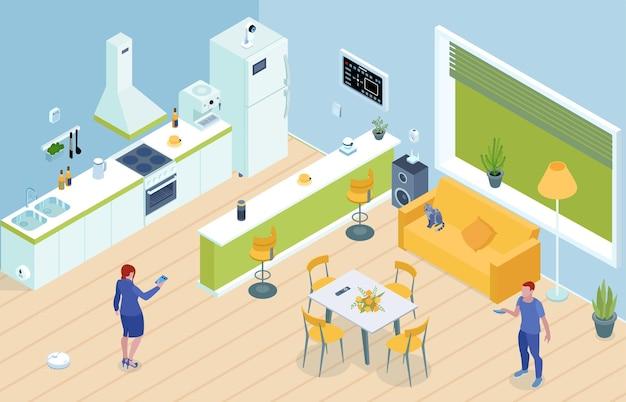 L'interno della cucina smarthome con i capifamiglia controlla gli elettrodomestici da remoto utilizzando la composizione isometrica del pannello principale