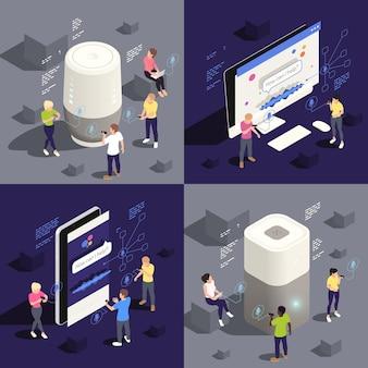 Illustrazione isometrica di concetto 4 dell'assistente vocale smarthome