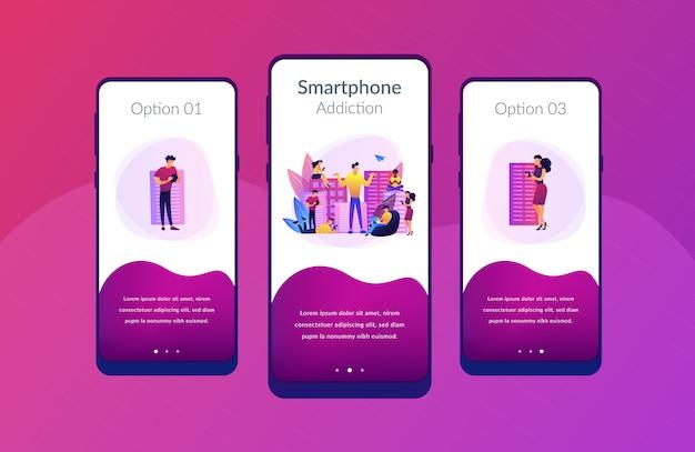 Modello di interfaccia dell'app per la dipendenza da smartphone.