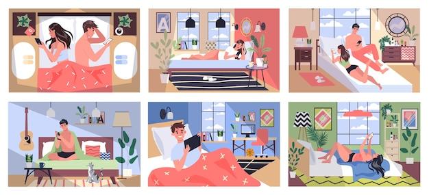 Concetto di dipendenza da smartphone. le giovani coppie trascorrono del tempo insieme navigando in internet. donna e uomo con dipendenza da telefono a casa e fuori. illustrazione