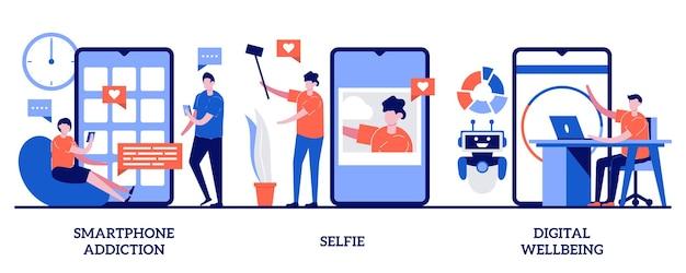 Dipendenza da smartphone, selfie, concetto di benessere digitale con illustrazione di persone minuscole