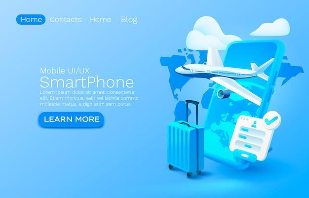 Posto di concetto dell'insegna di app dell'aeroplano dello smartphone per il vettore di servizio mobile dei bagagli dell'applicazione in linea dell'aeroporto del testo
