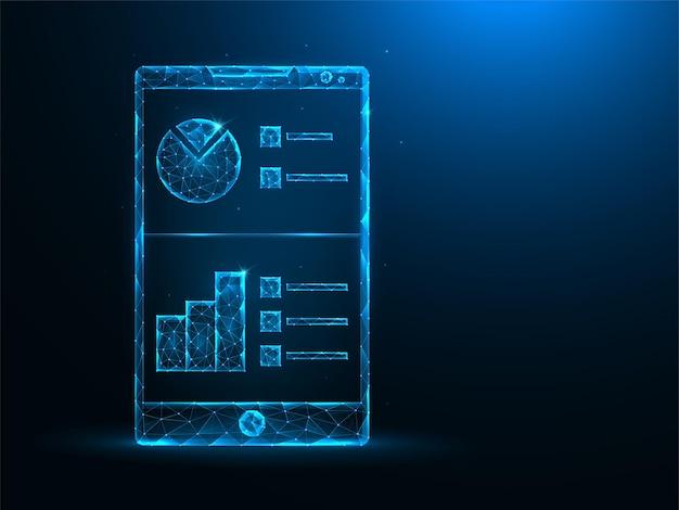 Smartphone e dati analitici low poly art. analisi mobile, illustrazioni poligonali del grafico dei dati su sfondo blu.