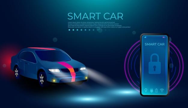 Applicazione smartphone per controllare smart car via internet Vettore Premium