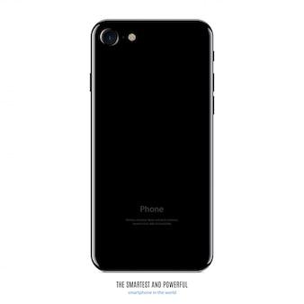 Vista della parte di colore nero di smartphone isolata