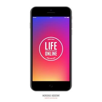 Smartphone colore nero opaco con salvaschermo colorato isolato su sfondo bianco. mockup di telefono cellulare realistico e dettagliato