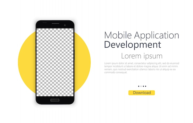 Modello di banner schermo vuoto smartphone. sviluppo di applicazioni