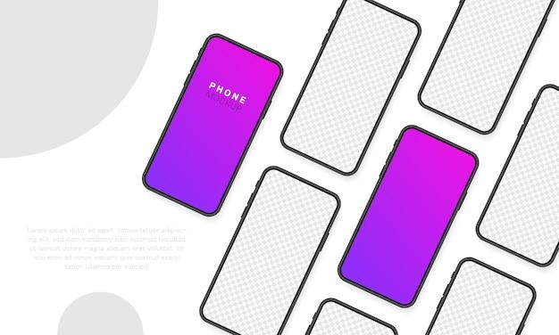 Schermo vuoto dello smartphone, telefono. nuovo modello di telefono. modello per infografica per l'interfaccia utente di presentazione. illustrazione.