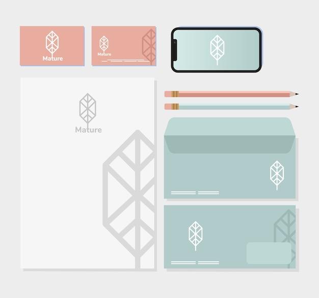 Smartphone e pacchetto di elementi impostati mockup nel disegno grigio dell'illustrazione