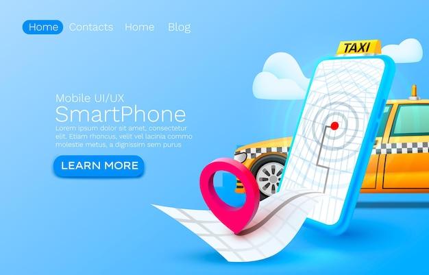 Posto di concetto dell'insegna del taxi di chiamata dello smartphone per il servizio di taxi dell'applicazione online di testo