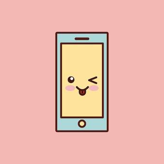 Stile di kawaii personaggio smartphone