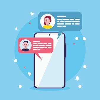 Icone di smartphone e bolle di chat