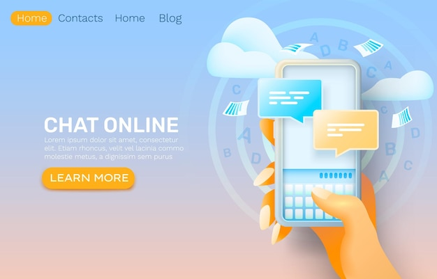 Applicazione online di chat per smartphone, rete di dialogo di contatto, servizio di conversazione.