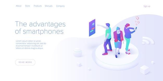 Concetto di comunicazione dello smartphone in isometrico.
