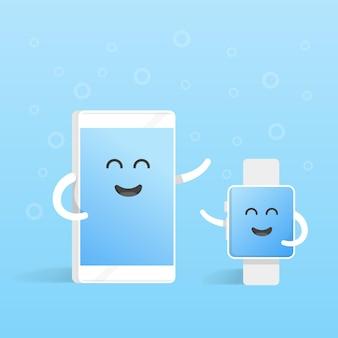 Connessioni del concetto di smartphone con orologi intelligenti. telefono simpatico personaggio dei cartoni animati con mani, occhi e sorriso.