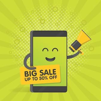 Concetto di smartphone con megafono che annuncia vendite e sconti e tiene in mano un banner. telefono simpatico personaggio dei cartoni animati con mani, occhi e sorriso.