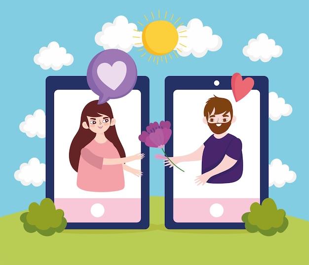 Smartphone coppia che flirta