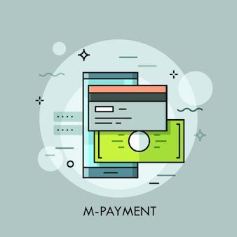 Smartphone, carta di credito o debito e banconota. applicazione mobile per pagamenti elettronici e concetto di accesso al conto bancario Vettore Premium
