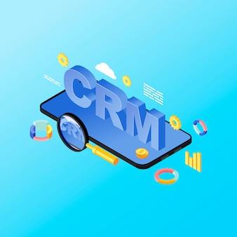 Illustrazione isometrica di app di sistema crm per smartphone. applicazione mobile per la gestione delle relazioni con i clienti, software. metriche di vendita, analisi dei dati del cliente sul concetto di telefono 3d isolato su sfondo blu