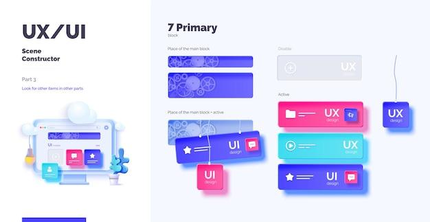 Smartphone e desktop mockup con blocchi e connessioni attivi