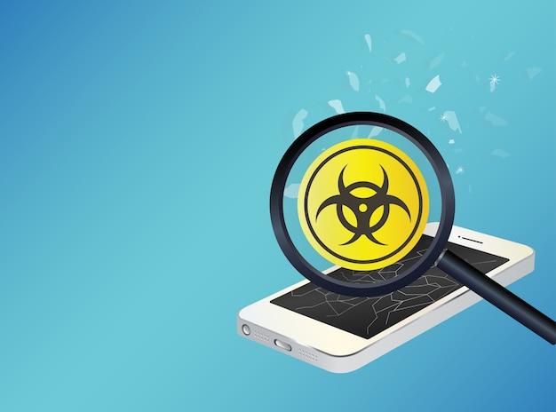 Virus infetto dispositivo smartphone Vettore Premium