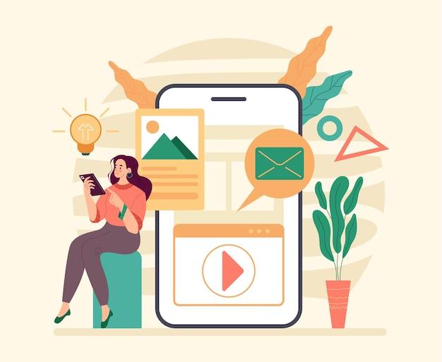 Funzionalità digitali dello smartphone flat
