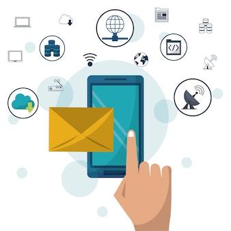 Smartphone e busta posta in primo piano e icone di rete