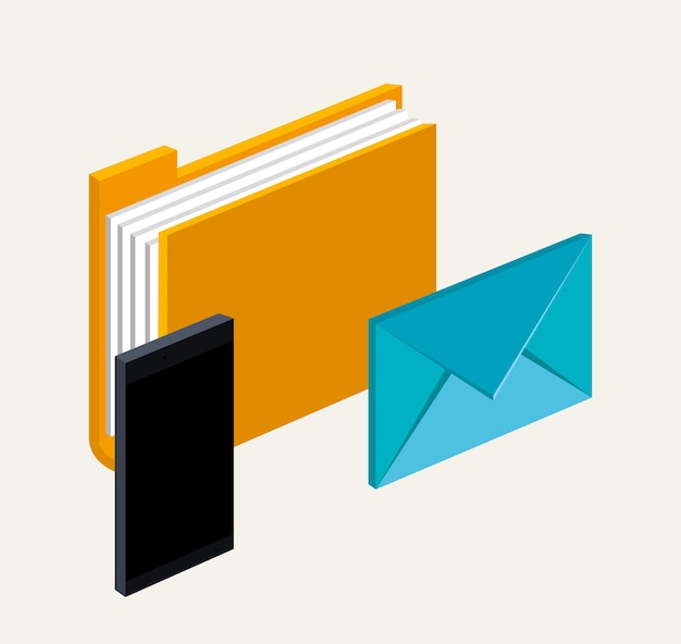 Tecnologia digitale di comunicazione della lettera dell'email della lima della cartella dello smartphone
