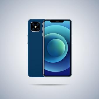 Smartphone. illustrazione di vista anteriore e posteriore. Vettore Premium