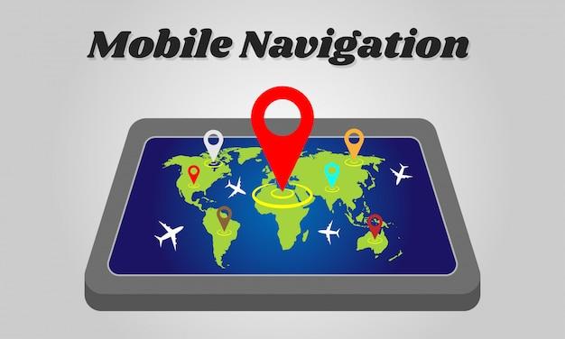 Smartphone navigazione gps con mappa del mondo