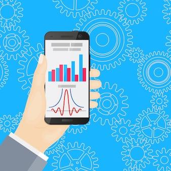 Smartphone in mano su sfondo blu con ruote dentate. design piatto. infografica.