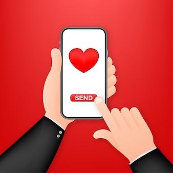 Illustrazione di amore della mano dello smartphone