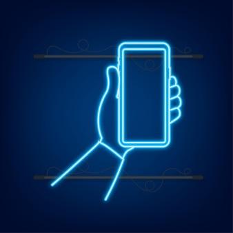 Smartphone a portata di mano icona telefono icona neon touchscreen display telefono cellulare