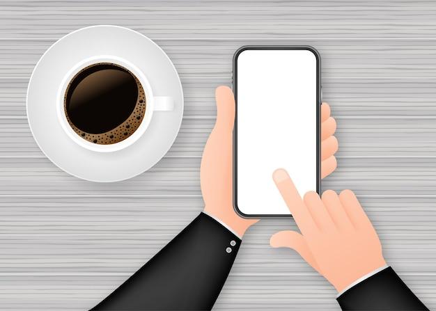 Smartphone a portata di mano. icona del telefono. schermo tattile, display del telefono. icona di vettore del telefono cellulare. design grafico piatto. illustrazione di riserva di vettore.
