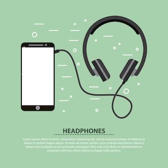 Smartphone e cuffie musica suono illustrazione vettoriale