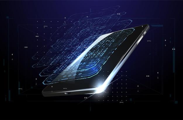Elementi di smartphone e hud ologramma con telefono cellulare