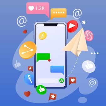 Smartphone e icone di social network, applicazioni, sms, mi piace isolati su sfondo blu. nuove tecnologie e sistema mobile. illustrazione vettoriale
