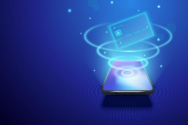 Smartphone e concetto di internet banking illustrazione vettoriale di denaro digitale