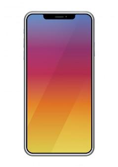 Smartphone isolato su uno sfondo bianco, illustrazione vettoriale.