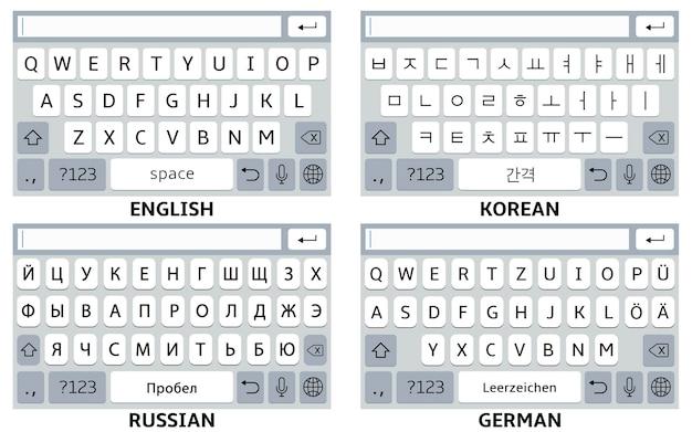 Set di tastiere per smartphone. inglese, coreano, tedesco, russo.