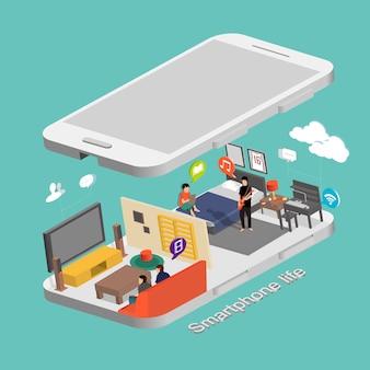 Concetto di vita dello smartphone in grafica isometrica