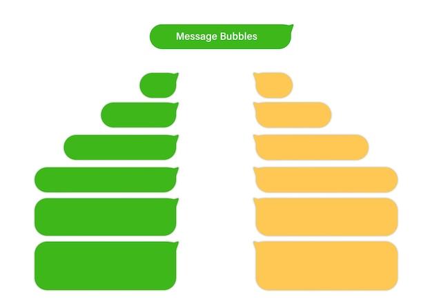 Caselle di chat di bolle di messaggio di smartphone. design piatto