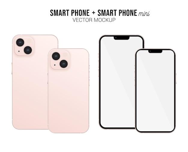 Smartphone mini vector mockup con schermo bianco isolato