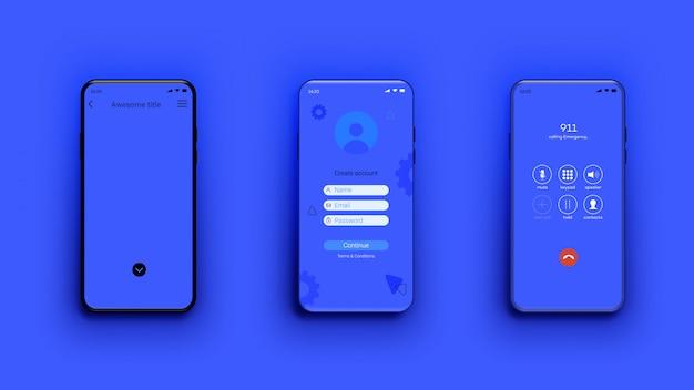 Modello di smartphone, diverse schermate, modello per vetrina mobile app.
