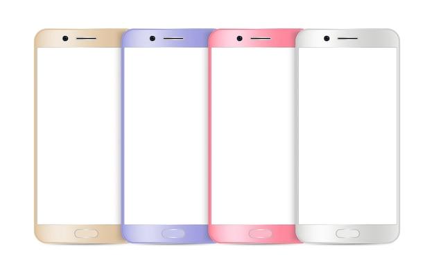 Modello di smartphone. telefono cellulare realistico, gadget isolati su bianco. illustrazione di vettore di dispositivi a schermo vuoto. dispositivo gadget mockup, display per smartphone mobile