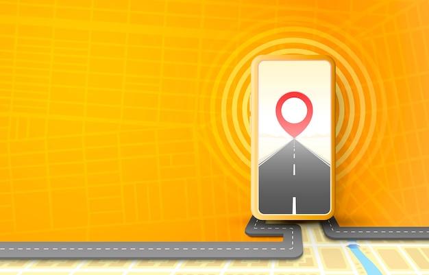 App navigatore per smartphone, mappa stradale di localizzazione mobile,
