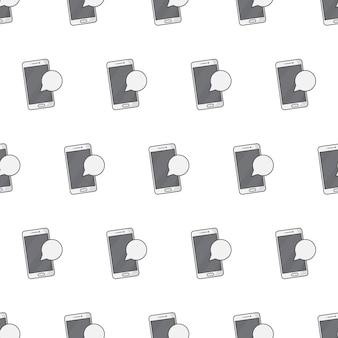 Modello senza cuciture di notifica smartphone su uno sfondo bianco. illustrazione vettoriale di tema di notifica