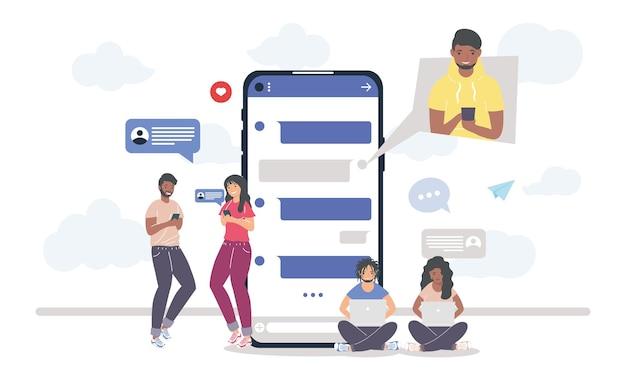 Messaggi di persone su smartphone