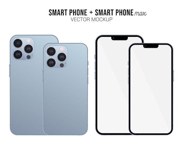 Smartphone pro e max vector mockup con schermo bianco isolato